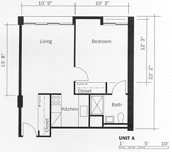One Bedroom Apartment, Type A Floor Plan