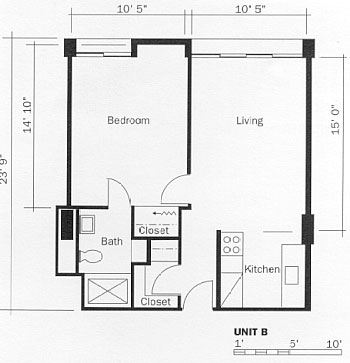 One Bedroom Apartment, Type B Floor Plan