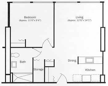 One Bedroom Apartment Floor Plan, Type A
