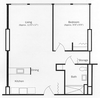 One Bedroom Apartment Floor Plan, Type B
